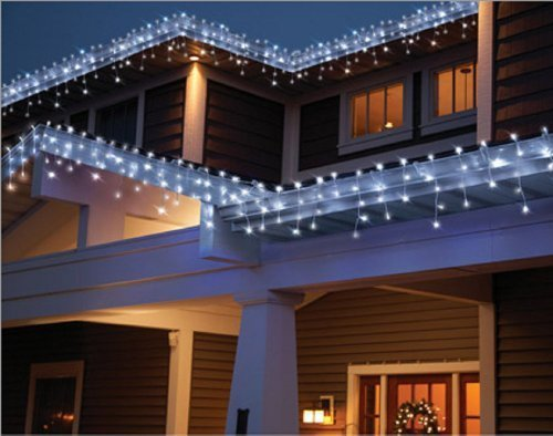 holiday time count led star icicle christmas lights cool white 764878 by import everstar