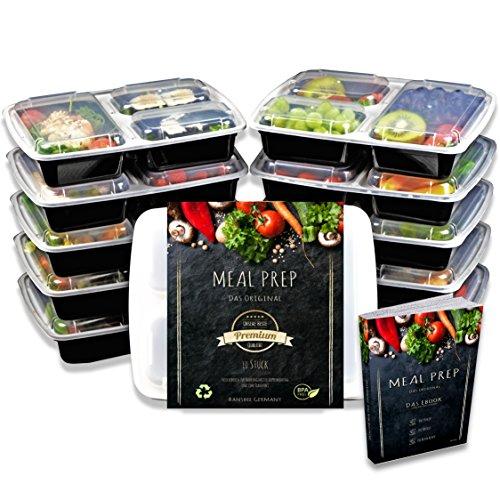 INAL - 10 Qualitativ hochwertige 3 Fach Meal Prep Container - Zertifiziert, BPA-Frei, Mikrowellengeeignet, Spülmaschinenfest, Wiederverwendbar, Modell 2019 + gratis eBook! ()