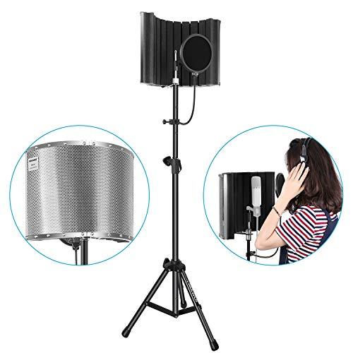 Neewer Accessori Microfono NW-8 Paravento Schermo Fonoassorbente Isolamento Supporto Stand Regolabile Staffa di Montaggio Filtro Pop per Registrazioni Acustiche Podcasting