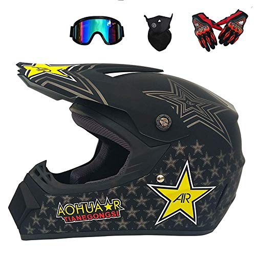 HWJF Doppelter Sport-Motocross-Helm MX-Motorradhelm ATV-Roller-Downhill-Schutzhelm D.O.T-zertifizierter Fuchs mit Brille, Handschuhe (4 Stück),2,L -
