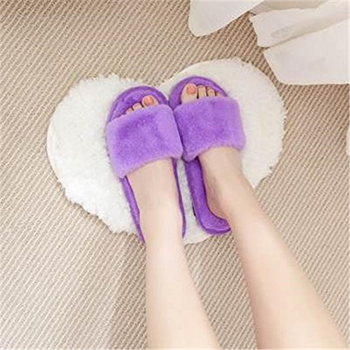 LEPAKSHI purple Style 1, 12 : Fashion autumn and winter indoor home lovers cotton drag floor plush slippers female slip-resistant