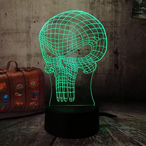 wangzj luz nocturna para niños ilusión 3d luz nocturna/botón táctil ilusión óptica 3d mesa lámpara de escritorio/halloween regalo de cumpleaños/cráneo