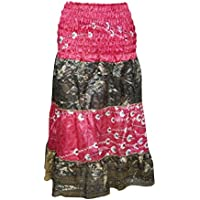 Mogul Interior Women's 2 in 1 Strapless Dress Skirt Pink Vintage Sari Tiered Dresses S/M