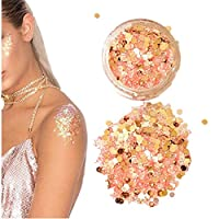 Chunky Glitter,Aerobin Chunky Mixed Glitter Pot-Nail Face Eye Body Cosmetic Glitter for Festival Faces, Party Face and Body Make-up, Sparkling Glitter Hair and Nails (Orange)