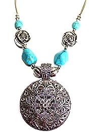 Collar Elégant Mandala con piedra azul/glamour Boho Bohemia Chic étnica tribal/regalo Ideal Mujer Joven y Base