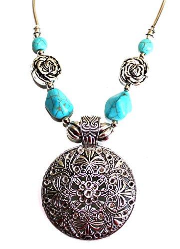 Collar para mujer, estilo étnico y bohemio, diseño de mandala, con piedra azul