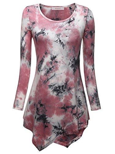 WAJAT Damen Langarm T-Shirt Asymmetrisch Hem Tunika Stretch Dyed Rosa XL (Tie-dye-mode)