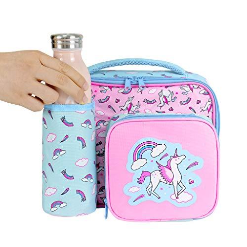 Wht borse frigo piccole borsa da pranzo fresca borse frigo pranzo ufficio borsa da pranzo termica tote da pranzo con tracolla - unicorno