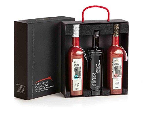 Castillo de Canena, Aceite de oliva estuche regalo primer día de Cosecha arbequina, picual y royal, 3 botellas de 500 ml.