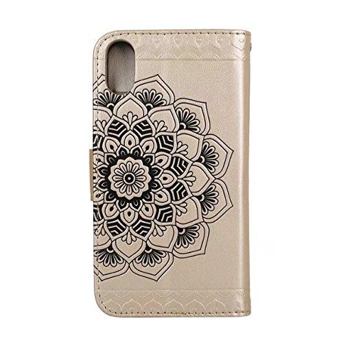 YHUISEN iPhone X Fall,Embossed half Flower Design [Wrist strap] Premium PU Leder Geldbörse Pouch Flip Ständer Case für iPhone X (2017) ( Color : Gray ) Gold