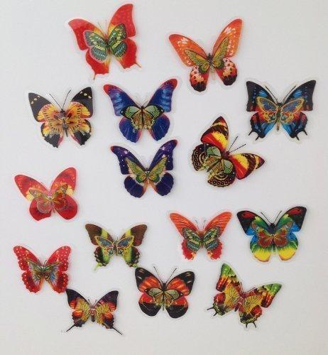 15 Stück Deko Schmetterlinge mit Magnet Magnetschmetterling Kühlschrankmagnet (Schmetterling-kühlschrank-magnete)