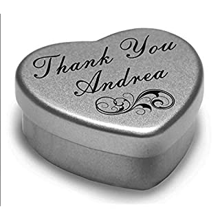 Perfect Way to Say Thank You Andrea With A Mini Heart Tin Gift Present with Chocolates . Makes a beaufiful Gift or Present to show your Thanks, Fits Beautifully in the palm of your hand. Tin Measurements 45mmx45mmx20mm