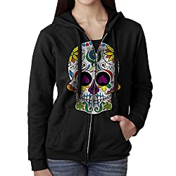Sugar Skull Dia De Los Muertos Women's Zip Up Pullover Hoodie, Hooded Sweatshirt