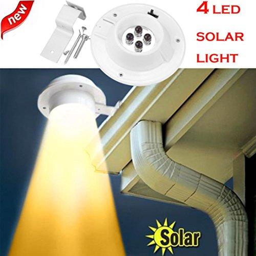Preisvergleich Produktbild Minshao Neue 4 LED Solarbetriebene Gutter Licht Outdoor / Garten / Hof / Wand / Zaun / Pathway Lampe