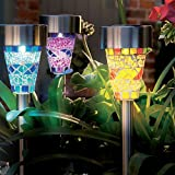 Solalite Set of 12 Solar Mosaic Garden Border Post Stake Lights