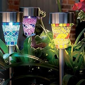 Solalite Set of 12 Solar Mosaic Garden Border Post Stake Lights