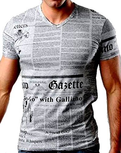 Maglia t-shirt scollo a v uomo john galliano maniche corte v neck men short sleeves (46, grigio)