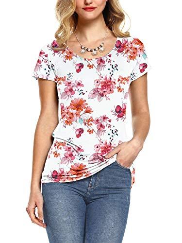 AMORETU Damen Bluse Tunika Floral Shirt Rundhals Oberteil für Sommer, 1-weiß, S/DE 34 -