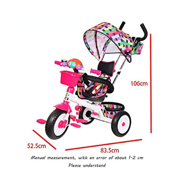 3 In 1 Childrens Tricycles 12 Months To 6 Years 3-Point Safety Belt Kids Tricycle Rear Wheel With Brake Folding Sun Canopy Child Trike Maximum Weight 30 Kg Birthday Present,Green BGHKFF ★Material: Steel pipe, suitable for children aged 1-6, maximum weight 30 kg ★ 3-in-1 multi-function: convertible into stroller and tricycle. Remove the hand putter and awning as a tricycle. ★Safety design: gold triangle structure; 3-point seat belt + guardrail; rear wheel double brake; safety belt 5