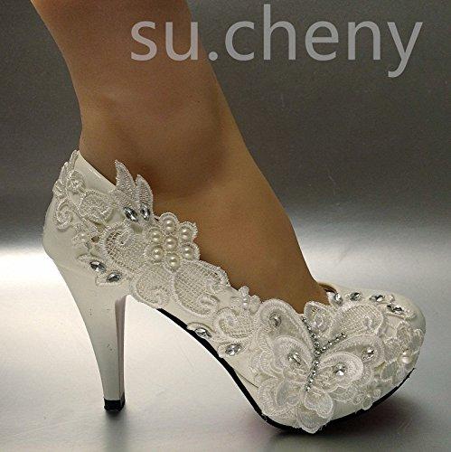 Jingxinstore bianco farfalla pizzo matrimonio scarpe da sposa 8cm/3alto molto décolleté taglia 5–11, bianco, 7 us