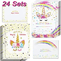 ENTHUR 24 Sets Unicorn Invitations with 24 Envelopes and Thank You Tags, Rainbow Glitter Unicorn Birthday Party Invitation Cards for Kids Birthday Unicorn Party Supplies Double Sided