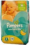 76 Pampers Windeln New Baby-Dry Gr. 2, 3-6 Kg, Baumwolle weich