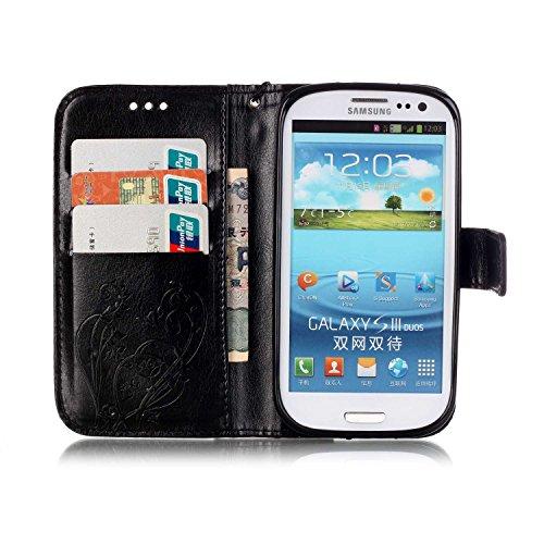 Prägen Blumen-Case, Magnetverschluss Synthetische PU-Leder-Kasten-Abdeckung mit hängenden Seil und Wallet-Funktion für Samsung S3 ( Color : Pink , Size : Samsung S3 ) Black