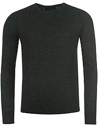 Firetrap 2Couleur Knit Pull pour homme Noir/vert Pull Top