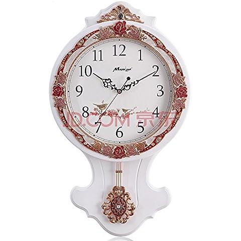 NooLom Salón de estilo europeo Reloj de pared Reloj de madera real son las artes creativas Relojes de pared Reloj retro silencio
