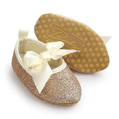 leap frog  Sequins Mary Jane, Baby Mädchen Lauflernschuhe Point Toe Gold
