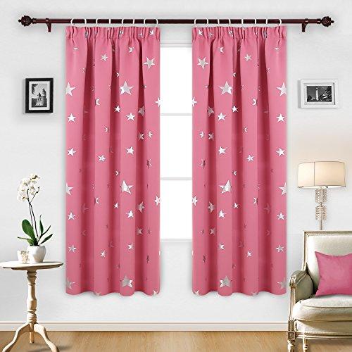 Deconovo tende oscuranti termiche isolanti con motivo a stelle tende per la cameretta bambini rosa 117 x 183 cm due pannelli