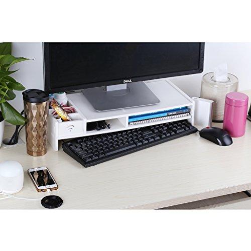 Finether Monitorständer Bildschirmständer Tischaufsatz Schreibtischaufsatz Schreibtischregalfür Monitorerhöhung Bildschirmerhöhung aus WPC weiß 48 x 20 x 10 cm -