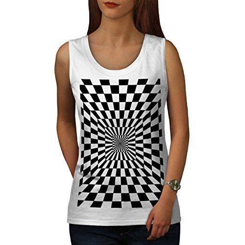 Platz Illusion Muster Trick Idee Damen S-2XL Muskelshirt | Wellcoda Weiß