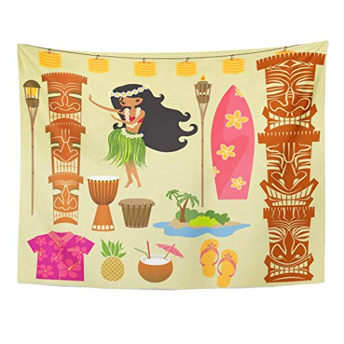 all Hanging Hawaii Symbols and Including Hula Dancer Tiki Gods Totem Pole Drums Torches 60