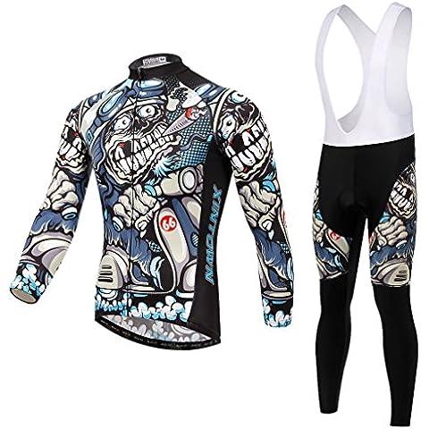 Spoz Men Cycling MTB Cartoon Skull Gel Pad Bid Jersey Set XXL
