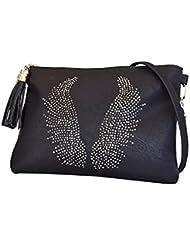 Pochette à ailes d'ange strass Noir