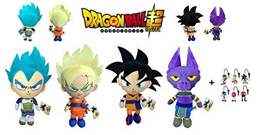 Dragon Ball Super - Pack 4 Peluches 22cm Calidad Super Soft Goku - Goku Super Saiyan (Rubio) - Vegeta Ulta Instinto (Azul) - Dios Beerus (Gato Lila) + 1 Llavero Sonic Aleatorio