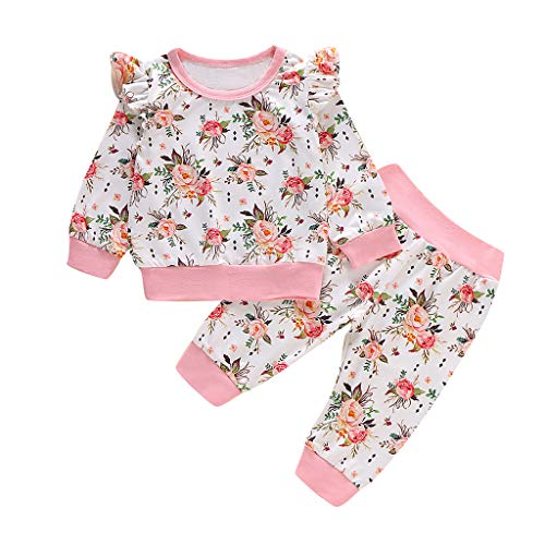 Winkey Kids Set, Trend Baby Mädchen Langarm Mode Blumendruck Rüschen T Shirt Top Hosen Kostüm (Rüschen Shirt Kostüm)