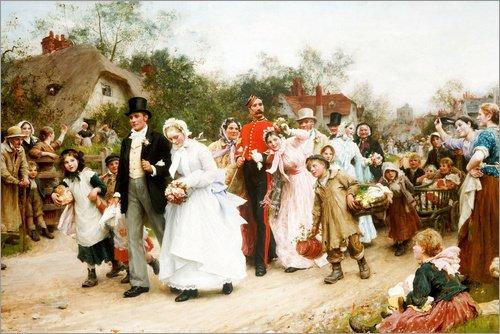 Posterlounge Alu Dibond 180 x 120 cm: Die Dorfhochzeit von Sir Samuel Luke Fildes/ARTOTHEK