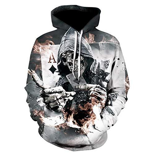 Skelett Hoodie, Männer Zombie Schädel Hoody Unisex Realistische 3D Digital Print Knochen Feuer Pullover Hoodie Mit Kapuze,5XL (Skelett Hoodie Für Männer)