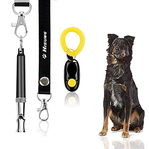 HiSung Hundepfeife zu Stop Bellen, Verstellbarer Pitch Ultraschall Training Werkzeug Silent Rinde Kontrolle für Dogs- Pack von 3Pcs Whistles mit 3Gratis Lanyard Band, 1*Whistle+1*Clicker -