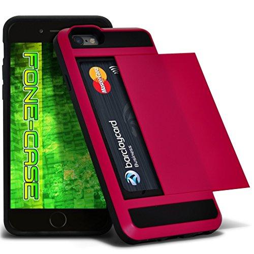 Fone-Case (Hot Pink) Apple iPhone 5 / SE Tough Armour hybride Couverture rigide de protection antichoc Cas avec emplacement de carte diapositive titulaire Hot Pink