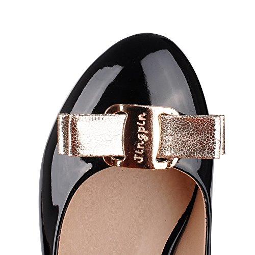 balamasa Mesdames cadran doré avec nœud Round-Toe brevet en cuir pumps-shoes Noir