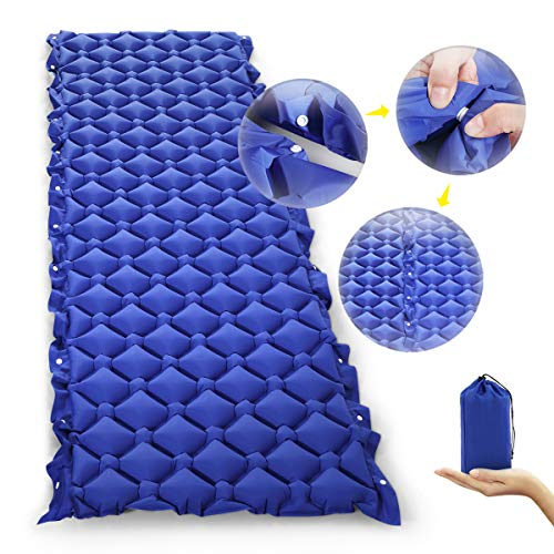 OGL Ultraleicht Aufblasend Luftmatratze für Camping, 6cm Dicke Innovative Design unbegrenzt kombinierte Camping Isomatte, einfach zu bedienen, Ideal für Outdoor, Camp, Wandern, Strand, Picknick-Blau