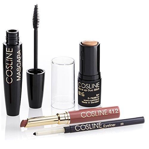 COSLINE Starter-Set: Kajal / Eyeliner, Lippenstift, Make Up Duo Stick und Mascara