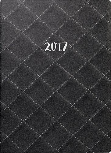Brunnen Modell 796 (107966301) Buchkalender (2 Seiten = 1 Woche, 148 x 205 mm, Balacron-Einband Quilt, Kalendarium 2017) schwarz