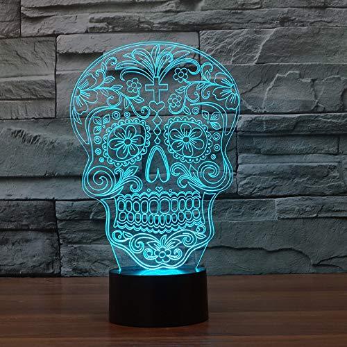 Kreatives Nachtlicht-Noten-3D Des Halloween-Schädel-3D Sichtbares Buntes Nachtlicht Führte Lampe Der Kind- 3D
