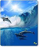 Mauspad / Mouse Pad aus Textil mit Rückseite aus Kautschuk rutschfest für alle Maustypen Motiv: Delfine im Meer und auf den Wellen surfend [09]