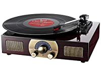 Vinyl Turntables, LuguLake Stereo 3-Speed Turntable with Built-In Bluetooth Speakers, Record Player, FM Radio and RCA Output, Vintage Phonograph with Retro Wooden Finish (Turntables)