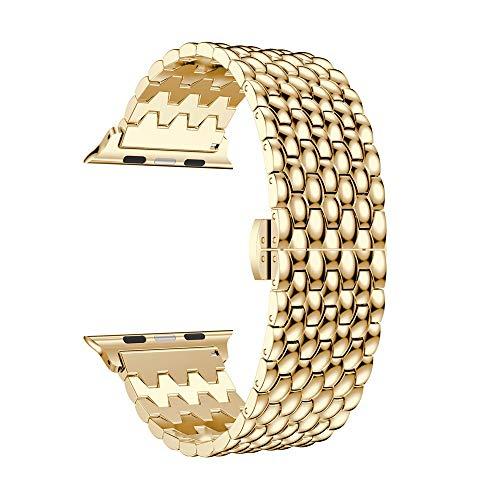 TianranRT Loop Luxus Legierung Verbindung Armband Watch Band Gurt für Apple Watch Serie 4 40MM (Gold,40MM)